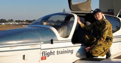 Cadet Corporal Ben Anderson from No 608 Squadron, at Parafield Airport. Photo by Flying Officer (AAFC) Paul Rosenzweig.