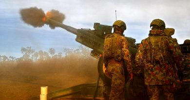 Soldiers from Townsville-based 4th Regiment Artillery fire an M777 155mm Howitzer in High Range Training Area. Photo by Brian Hartigan.