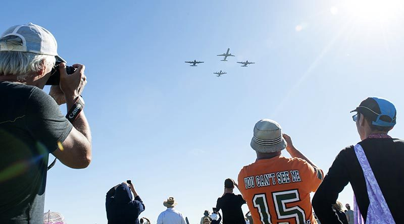 An RNZAF 'thunder formation' of two C-130 Hercules, a Boeing 757 and a P-3 Orion. NZDF photo.