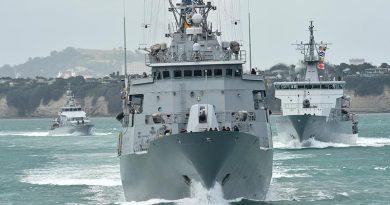 Naval ships depart Devonport Naval Base for the Hauraki Gulf during Fleet Shakedown Week. NZDF file photo.