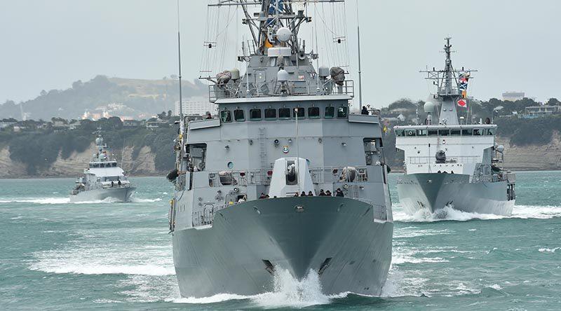 Naval ships depart Devonport Naval Base for the Hauraki Gulf during Fleet Shakedown Week. NZDF file photo.