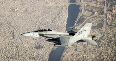 A Royal Australian Air Force F/A-18F Super Hornet flies over Mosul, Iraq, during an Operation Okra mission. Photo by Flight Lieutenant Trent, 12 July 2017.