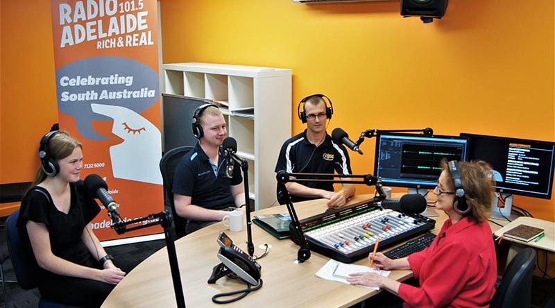 Jade, Josh and Kieran in the Radio Adelaide studio, with 'Service Voices' interviewer and executive producer Helen Meyer. Photo by Flying Officer (AAFC) Paul Rosenzweig