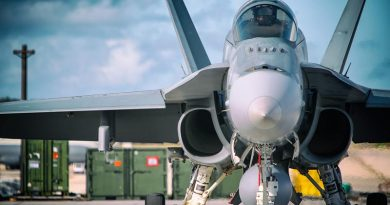 A No. 77 Squadron F/A-18A Hornet at Andersen Air Force Base, Guam. Photo by Corporal Glen McCarthy.
