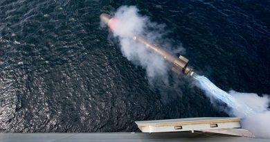 HMAS Hobart conducts a practice torpedo-firing trial off the east coast of Australia. Photo by Able Seaman Craig Walton.