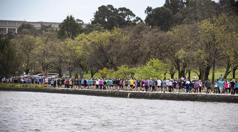 Australian Defence Force and Australian Public Service personnel participating in the ADF Mental Health Walk, a bridge to bridge lap around Lake Burley Griffin, as part Defence Mental Health month, on 7 October, 2016.