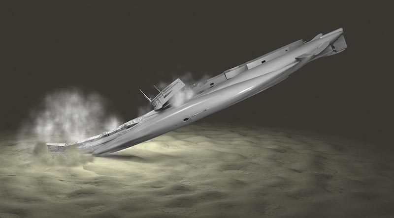 An artist's impression of HMAS AE1 impacting the seabed.