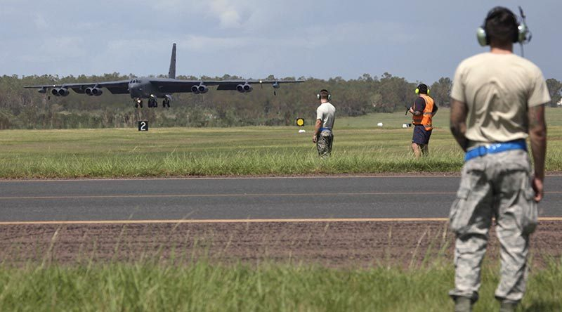 A US Air Force B-52 Stratofortress arrive lands at RAAF Base Darwin to train with the Royal Australian Air Force. Photo by Corporal Terry Hartin.