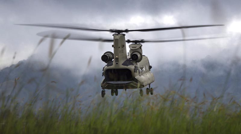 An Australian Army CH-47F Chinook takes off from Mount Hagen Airport during Operation PNG Assist 2018. Photo by Corporal Oliver Carter.
