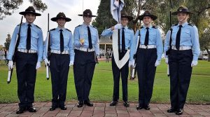 The No 608 (Town of Gawler) Squadron Catafalque Party for the Dawn Service at Pioneer Park in Gawler (left to right):  Cadet Corporal Leo Keane, Leading Cadet Courtney Semmler, Cadet Flight Sergeant Casey Dibben (Guard Commander), Leading Cadet Daniel Sherratt, Cadet Corporal Lucy Tassell, Cadet Corporal Annabelle Blanch. Photo contributed by 608 SQN.