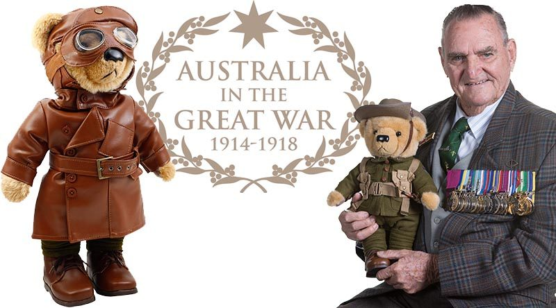 Bears to Schools National Ambassador Keith Payne VC, with Private Earnest Harvey, the Gallipoli Bear and, left, Lieutenant Thomas Hendy, The Australian Flying Corps Bear.