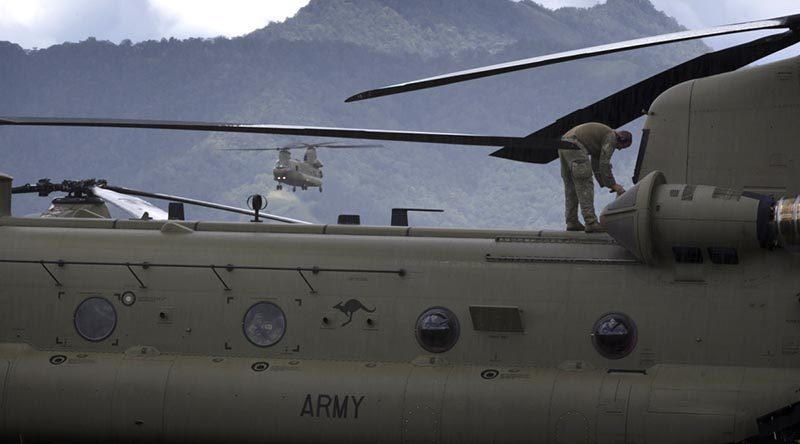 An Australian Army CH-47F Chinook helicopter returns to Mount Hagen Airport during Operation PNG Assist 2018. Photo by Corporal Oliver Carter.