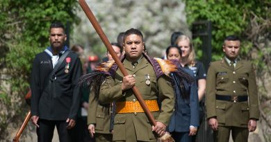 Lance Corporal Mark Goldsmith leads a Maori Cultural Group into Chanak Consular Cemetery in Canakkale, Turkey.