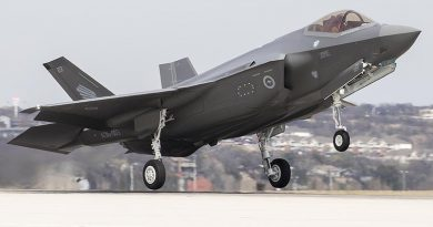 Royal Australian Air Force F-35A AU-003 departs Fort Worth Texas enroute to Luke Air Force Base, Arizona, to join the pilot-training fleet. Lockheed Martin photo by Alexander H Groves.