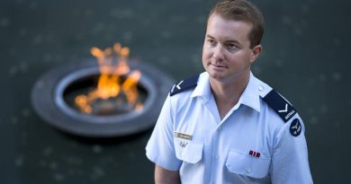 Royal Australian Air Force Leading Aircraftman Ryan Mostyn visits the Australian War Memorial in Canberra, before going to France, where he will participate in the 2018 Anzac Day commemorative program on the Western Front as a member of Australia's Federation Guard. Photo by Leading Seaman Chris Beerens.