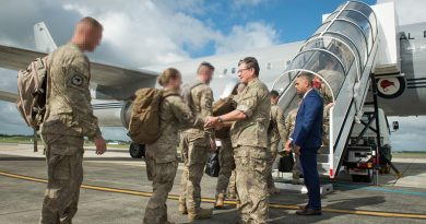 Major General Tim Gall, Commander Joint Forces New Zealand, and Minister for the Community and Voluntary Sector Peeni Henare farewell the seventh rotation of New Zealand troops heading to Task Group Taji in Iraq.