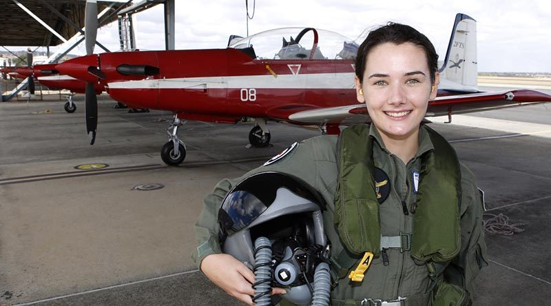RAAF Flight Camp for Young Women participiant Ruth Staer ready to go flying in a PC-9/A. Photo by Sergeant Pete Gammie.