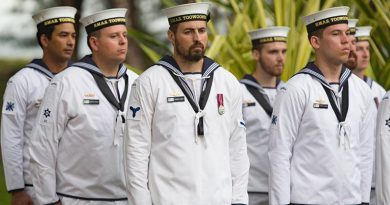 Australian sailors from HMAS Toowoomba at an ANZAC Day Dawn Service in Brunei. Photo by Able Seaman Steven Thomson.