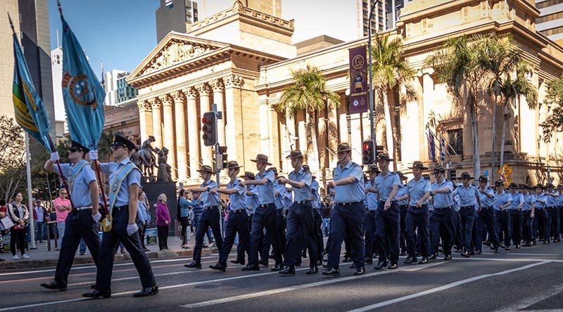 2 Wing Australian Air Force Cadets march through Brisbane after being granted Freedom Of Entry to the City. Photo supplied by Steve McCann.