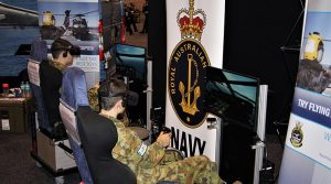 Leading Cadets Elias and Adomas Neocleous from 609 Squadron assess their flying skills on the Naval Aviation Prospects Scheme (NAPS) Simulator.