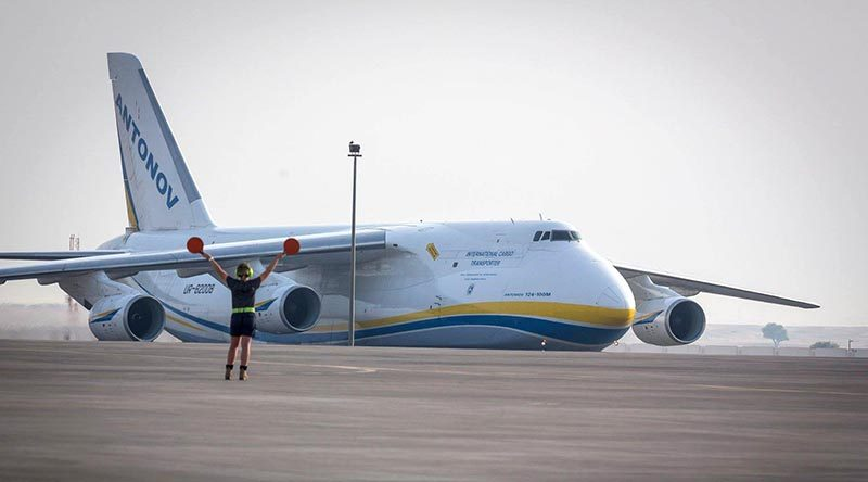 An Antonov 124 cargo plane arrives at RAAF Base Williamtown near Newcastle NSW to deliver F-35A training equipment. RAAF photo.