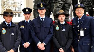 Australian Air Force Cadets at the Bomber Command Memorial in Green Park, London; (left to right) CCPL Joshua Aldridge (508SQN), CWOFF Stuart Archibald (703SQN), CUO Nash Petrincic (405SQN), CCPL Sydney Searle (603SQN) and FLTLT(AAFC) Deborah Hoiles (331SQN). Image supplied by AAFC.