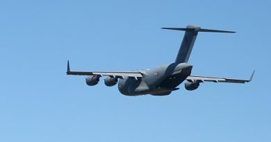 A C-17A Globemaster III does a flypast at the Wings Over Illawarra air show near Wollongong, NSW. Photo by Brian Hartigan.