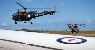 A French Navy Alouette III lifts off from Ile Des Pins airfield during Exercise Croix du Sud 2016 in New Caledonia. Photo by Corporal David Said.