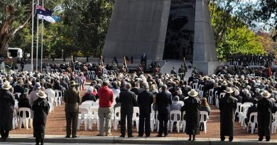 Memorial service to mark the 50th anniversary of the Battles of FSBs Coral and Balmoral, at the Vietnam War Memorial on Anzac Parade, Canberra. Photo via DVA.