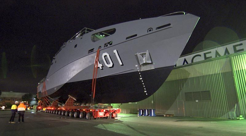 The first of 21 new Guardian-class patrol boats for the Pacific Patrol Boat Program moving from build site to water for launch. Austal photo.