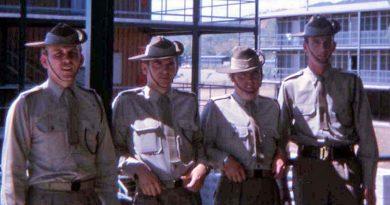 Peter Kowalski (KIA), Ian Cavanough, Ian Crisp (WIA) and Digger at Lavarack Barracks Townsville, 1969.