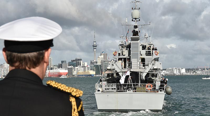 New Zealand's Chief of Navy Rear Admiral John Martin watches as Royal New Zealand Navy inshore patrol vessel HMNZS Taupo leaves Auckland on a three-month mission to conduct maritime patrols in support of the Republic of Fiji Navy. NZDF photo.