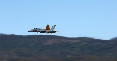 F/A-18A 'Classic' Hornet makes a low-level pass over Illawarra Regional Airport during the 2018 Wings Over Illawarra Air Show. Photo by Brian Hartigan.