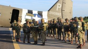 Parachutists prepare to board a C-47 Dakota during 70th anniversary commemorations of D-Day in 2014. Image supplied by Daks Over Normandy.