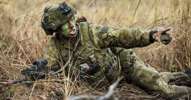 Private Alex Smith of the 6th Battalion, Royal Australian Regiment, shouts a target indication during an assault at Shoalwater Bay Training Area as part of Exercise Hamel 2018. Photo by Leading Seaman Jake Badior.