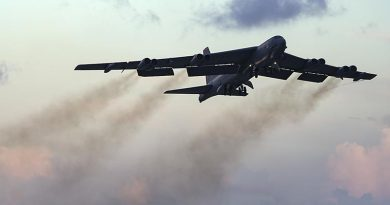 A Guam-based B-52 Stratofortress departs Anderson Air Force Base, Guam, on a training sortie over south-east Queensland (20 June 2018).US Air Force photo by Master Sergeant Richard P. Ebensberger.