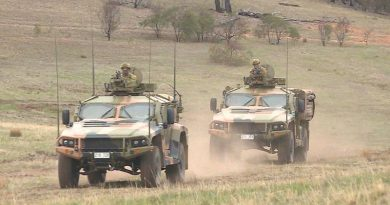 Two Hawkei PMV-L at Puckapunyal Training Area.