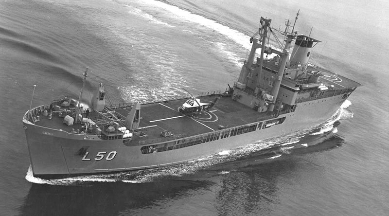 Then HMAS Tobruk conducting flight deck trials and certification in Jervis Bay in June 1981.