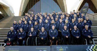 The Australian Invictus Games team on the steps of the Sydney Opera House. Photo by Pilot Officer Aaron Curran.
