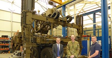 Managing Director WFEL Ian Anderton, Brigadier Ed Smeaton and WFEL DSB Launcher Integration Consultant Chris Jackson during a tour of WFEL's military bridging manufacturing facilities in Stockport, UK.