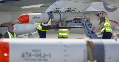 RAAF personnel load an ATM-84J Harpoon on to the port wing of a P-8A Poseidon in Hawaii during RIMPAC – with a second missile visible in the foreground. Other photos show the same personnel loading a Harpoon onto the starboard-wing pylon – indicating that the aircraft was loaded with two missiles. All Defence reporting of this flight talks about a Harpoon missile in the singular. Photo by Corporal Nicci Freeman.