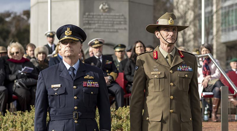 Outgoing Chief of Defence Force Air Chief Marshal Mark Binskin and incoming Chief of Defence Force General Angus Campbell during their change-of-command parade at Russell Offices, Canberra. Photo by Lauren Larking.