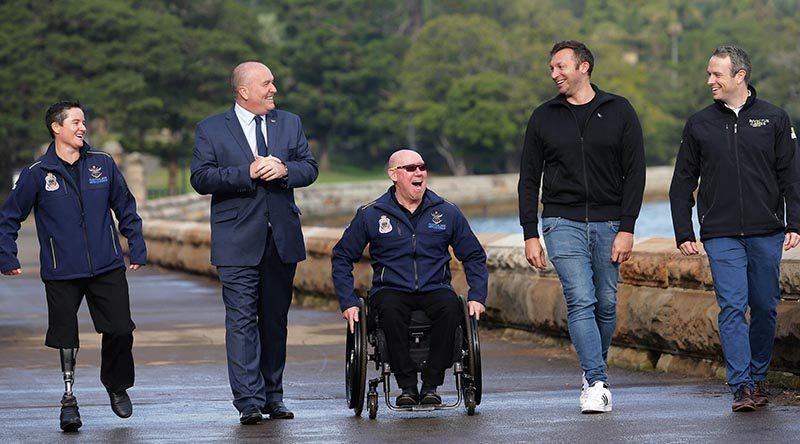 Ian Thorpe at the official launch of ticket sales, on the road cycling course for Invictus Games 2018, at Mrs Macquarie's Chair on the Sydney Harbour foreshore. He was joined by two members of the 2017 Australian Invictus Games Team – Corporal Sonya Newman and Jeff Wright, plus Chief Delivery Officer of Invictus Games Sydney 2018 Michael Hartung, and NSW Minister for Veterans Affairs David Elliott. Invictus Games official photo