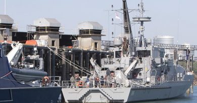 HMAS Childers alongside at Larrakeyah Defence Precinct in Darwin. Photo by Able Seaman Kristian Lee.