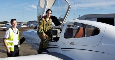 Leading Cadet Ana from 613 Squadron prepares to board her Diamond DA-40 during a Pilot Experience Flight (PEX) at Parafield Airport. Photo by Flying Officer (AAFC) Paul Rosenzweig.