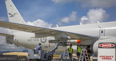 Royal Australian Air Force crew from No. 11 Squadron load an ATM-84J Harpoon on to their P-8A Poseidon at Marine Corps Base Hawaii before a live-fire opportunity during RIMPAC 18. Photo by Corporal Nicci Freeman.