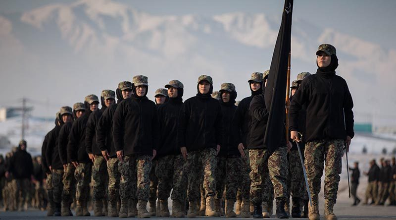 Female Afghan officer cadets march past the podium during a muster parade at the Afghan National Army Officer Academy near Kabul, Afghanistan. Photo supplied by NZDF.
