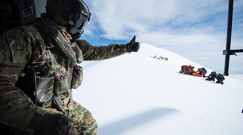 RNZAF's No.3 SQN take part in an Avalanche SAR training exercise with NZ Police and other agencies at Mount Ruapehu. NZDF photo.