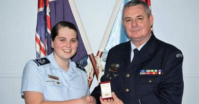 CFSGT Casey Dibben received her Gold Duke of Edinburgh's Award badge on Friday 10 August from the 6 Wing Public Affairs & Communication Officer FLGOFF(AAFC) Paul Rosenzweig.