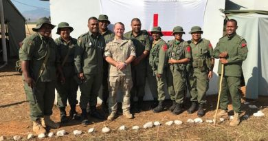 Warrant Officer Class 2 Daymon Wickens (fifth from left) with personnel from the Republic of Fiji Military Forces Peacekeeping School. NZDF photo.